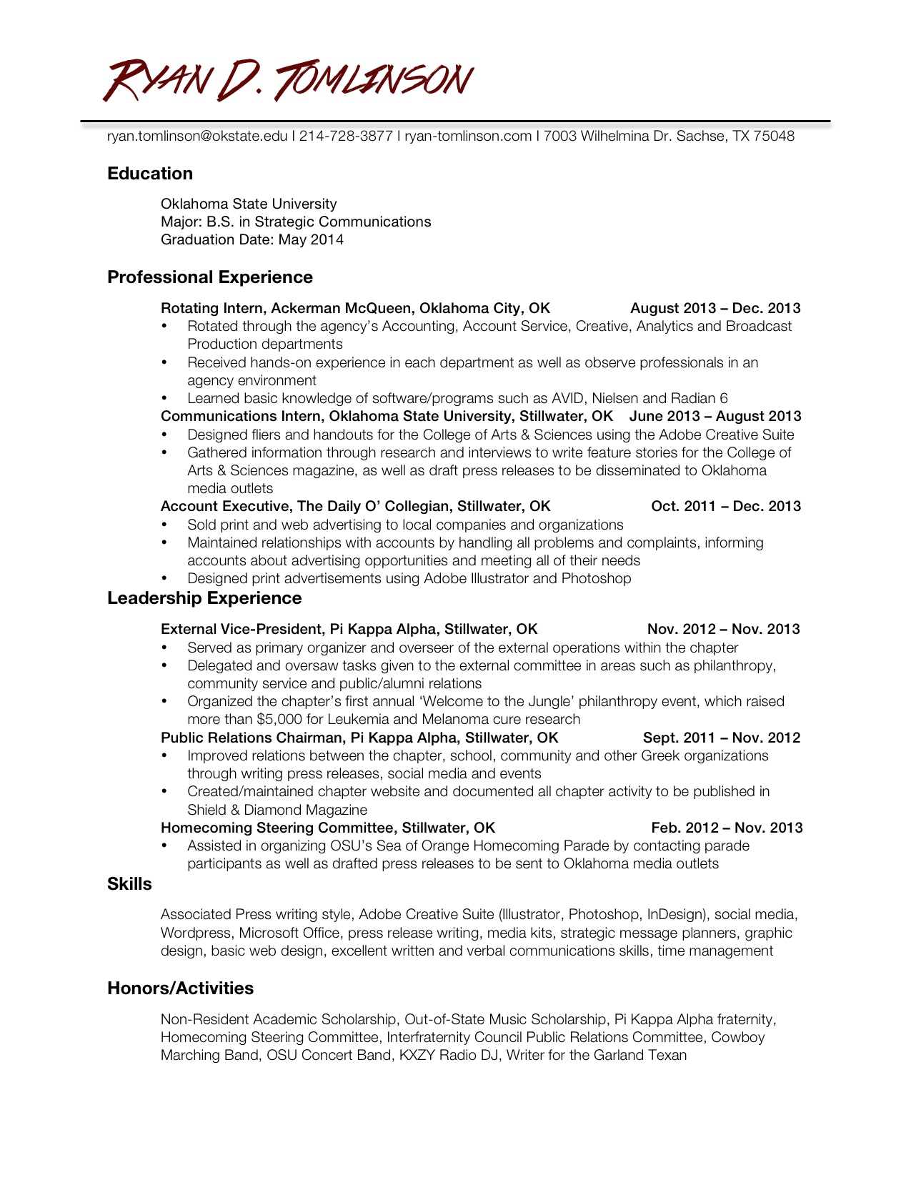 Related coursework on a resume
